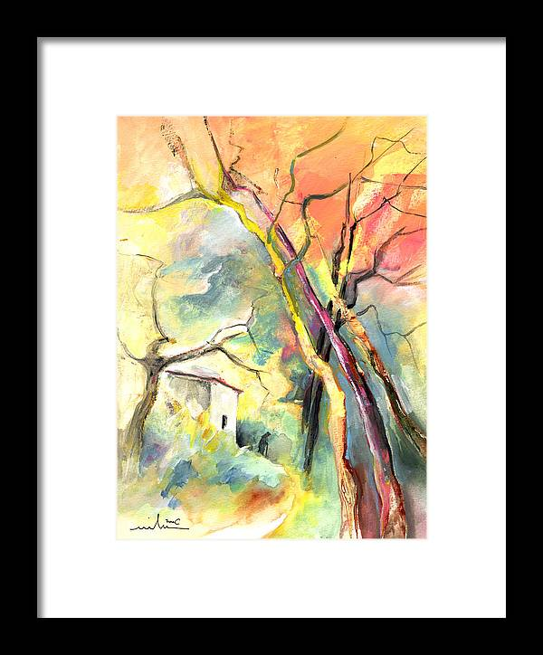 Landscapes Framed Print featuring the painting La Casita 03 by Miki De Goodaboom