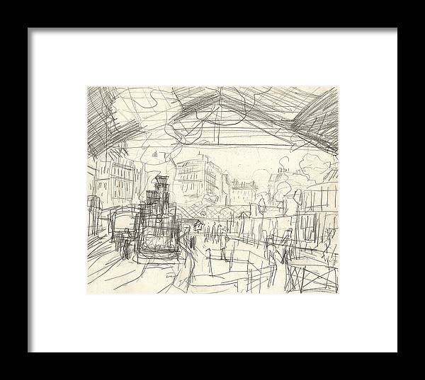 French Framed Print featuring the drawing La Gare Saint Lazare by Claude Monet