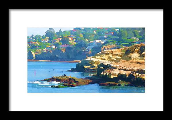 Outdoors Framed Print featuring the painting La Jolla California Cove And Caves by Douglas MooreZart