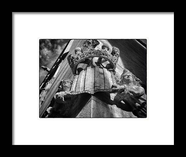 Unesco Framed Print featuring the photograph La Lonja Angels Black And White by For Ninety One Days