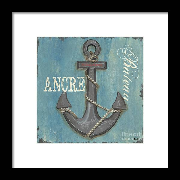 Coastal Framed Print featuring the painting La Mer Ancre by Debbie DeWitt