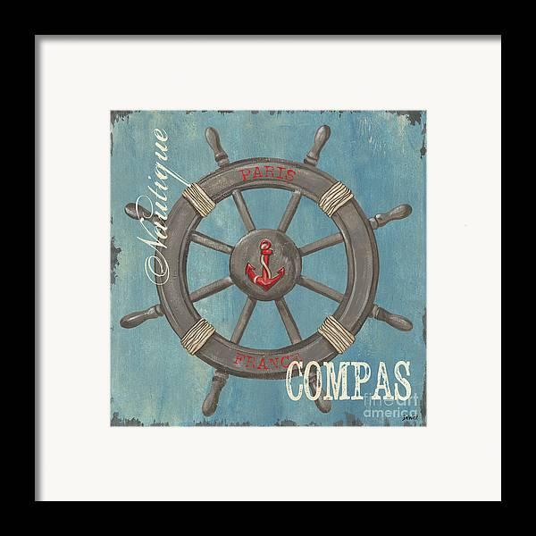 Coastal Framed Print featuring the painting La Mer Compas by Debbie DeWitt
