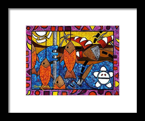 Fish Framed Print featuring the painting La Pesca Virgen De Un Hombre Honrado by Oscar Ortiz