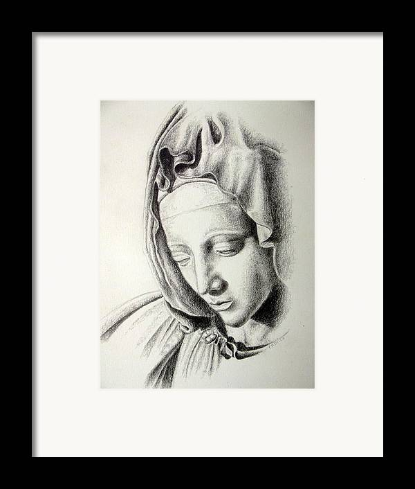 Religious Framed Print featuring the drawing La Pieta Madonna by Heather Calderon