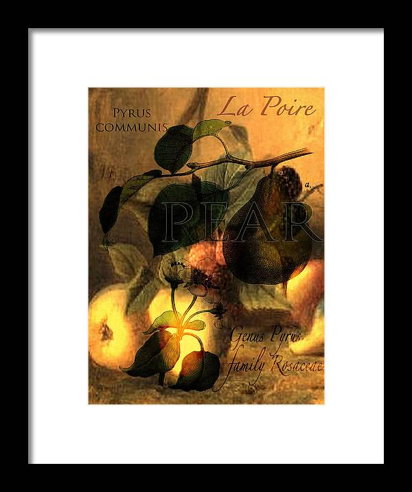 Pear Framed Print featuring the digital art La Poire #1 by Sarah Vernon