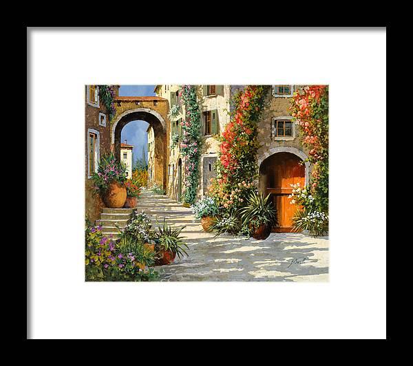 Landscape Framed Print featuring the painting La Porta Rossa Sulla Salita by Guido Borelli