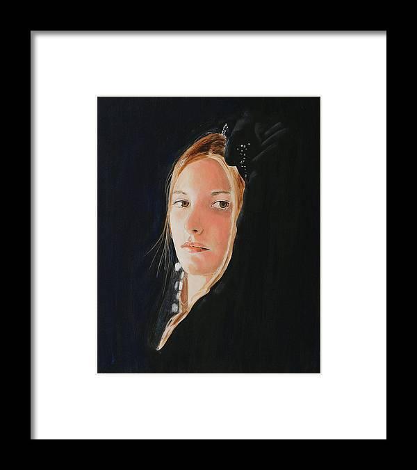La Princesse Bleue Framed Print featuring the painting La Princesse Bleue by Jean-Paul Setlak