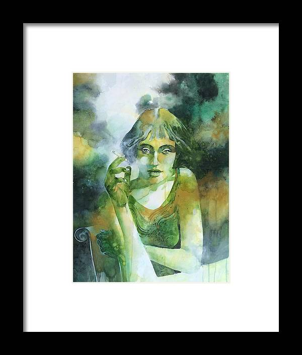 Girl Framed Print featuring the painting La ragazza che fumava gauloises by Alessandro Andreuccetti