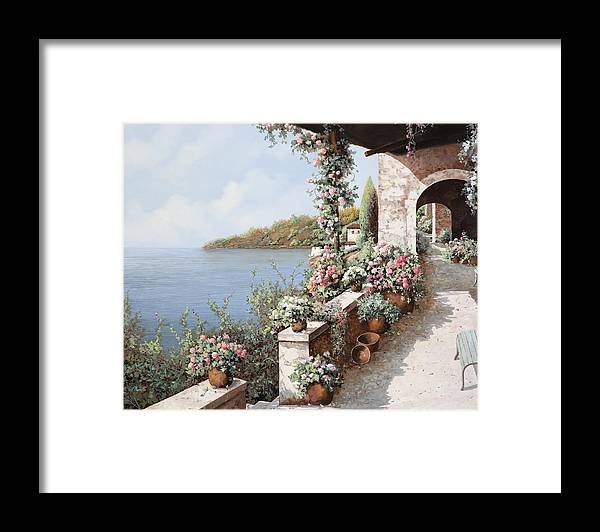 Coastal Framed Print featuring the painting La Terrazza by Guido Borelli