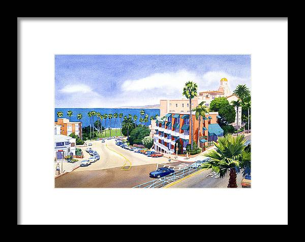 La Jolla Framed Print featuring the painting La Valencia And Prospect Park Inn Lj by Mary Helmreich