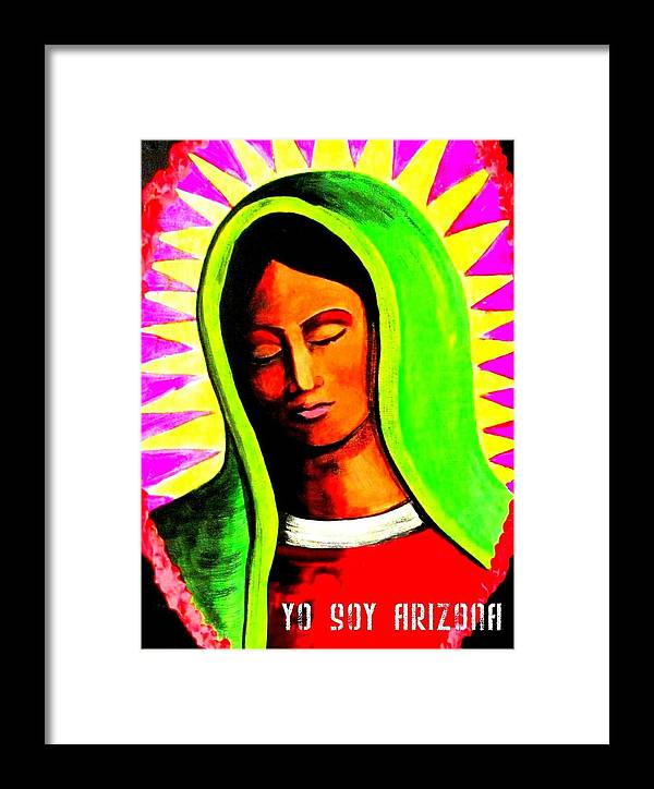 Yo Soy Arizona Framed Print featuring the painting Tonantzin by Michelle Dallocchio