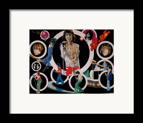 Mick Jagger;keith Richards;brian Jones;charlie Watts;bill Wyman;rock & Roll;music;guitars;water Framed Print featuring the drawing Ladies And Gentlemen -the Rolling Stones by Sean Connolly