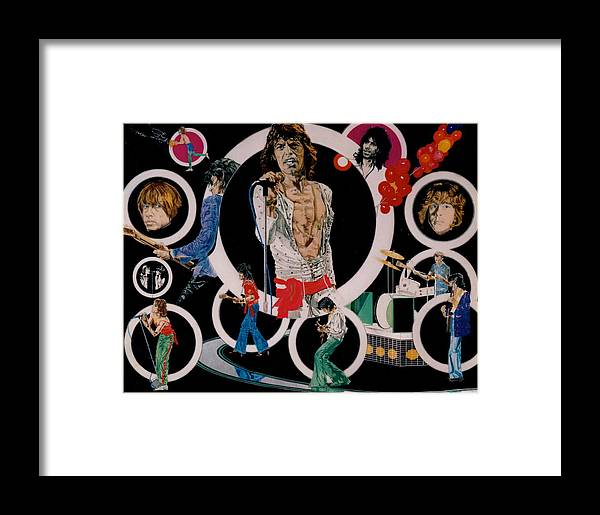 Mick Jagger;keith Richards;brian Jones;charlie Watts;bill Wyman;rock & Roll;music;guitars;water Framed Print featuring the drawing Ladies And Gentlemen - The Rolling Stones by Sean Connolly