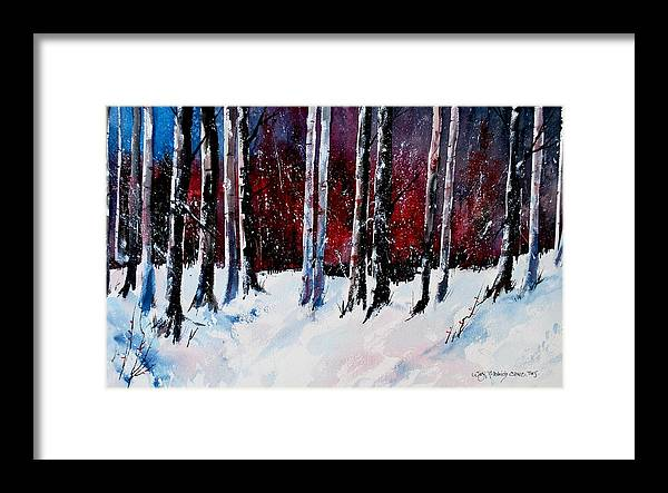 Winter Snow Forest Birch Trees Framed Print featuring the painting Ladies of the Forest by Wilfred McOstrich