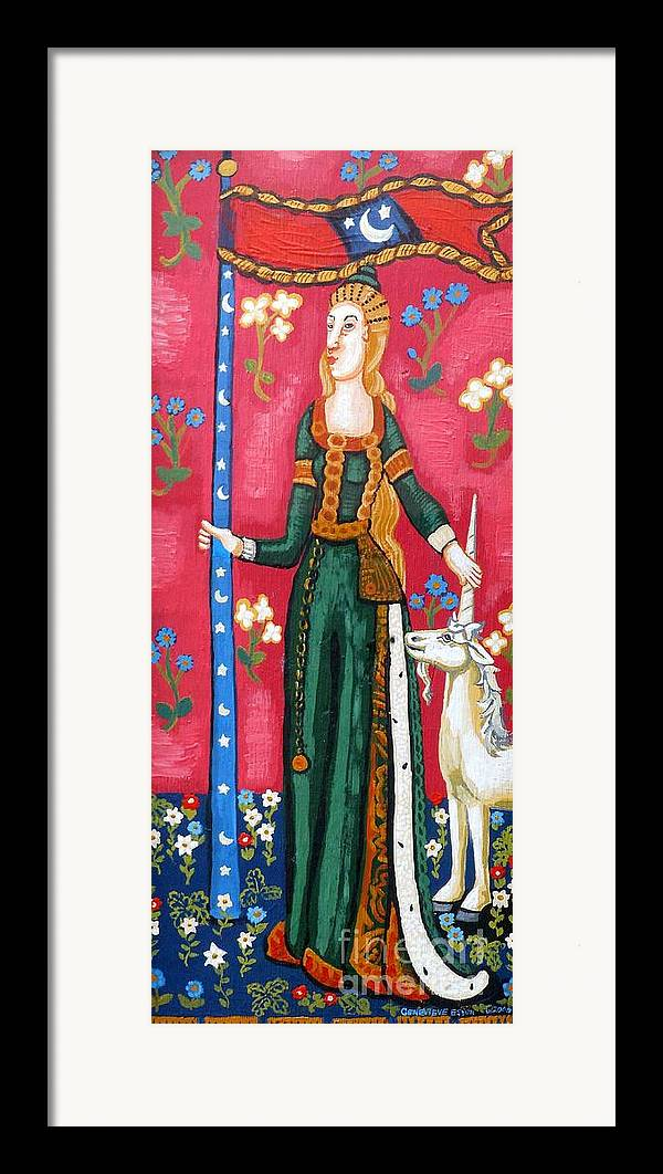 Unicorn Tapestries Framed Print featuring the painting Lady And The Unicorn La Pointe by Genevieve Esson