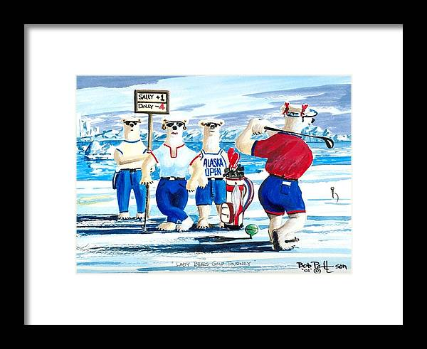 Polar Bears Framed Print featuring the painting Lady Bears Professional Golf Association by Bob Patterson