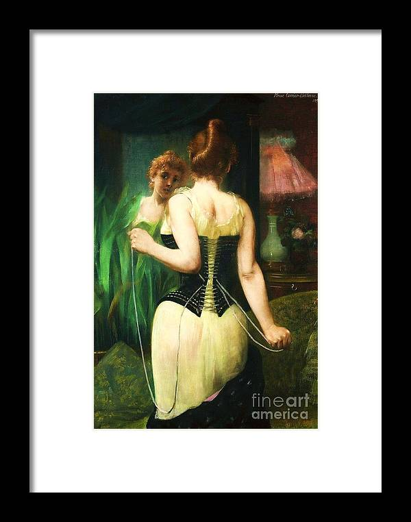 Pd Framed Print featuring the painting Lady Dressing by Pg Reproductions