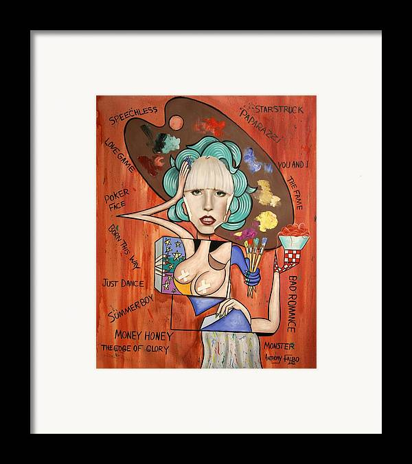 Lady Gaga Framed Print featuring the painting Lady Gaga Im Not Finished Yet by Anthony Falbo