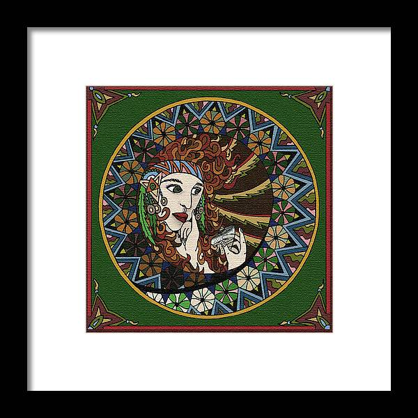 Lady Framed Print featuring the digital art Lady In Bar by Karen Elzinga