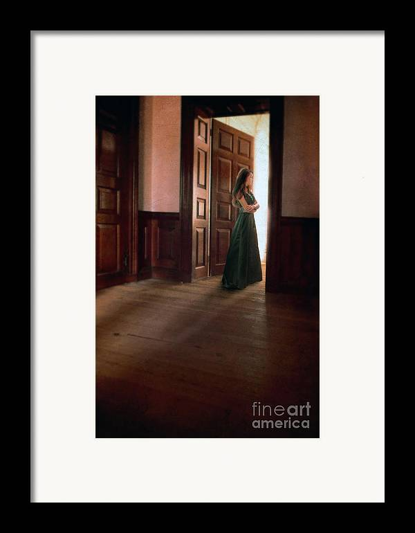 Beautiful Framed Print featuring the photograph Lady In Green Gown In Doorway by Jill Battaglia
