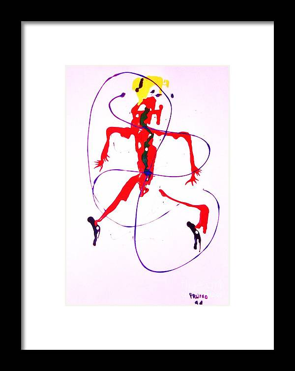 Semi-abstract Framed Print featuring the painting Lady In Red 2 by Roberto Prusso