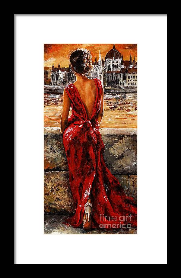 Lady Framed Print featuring the painting Lady In Red 34 - I Love Budapest by Emerico Imre Toth
