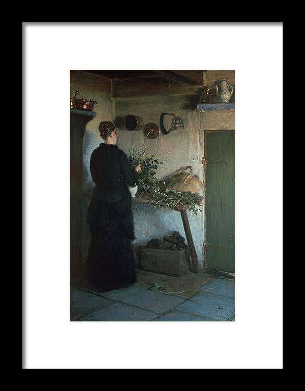 Basket Framed Print featuring the photograph Lady In The Kitchen by Viggo Johansen