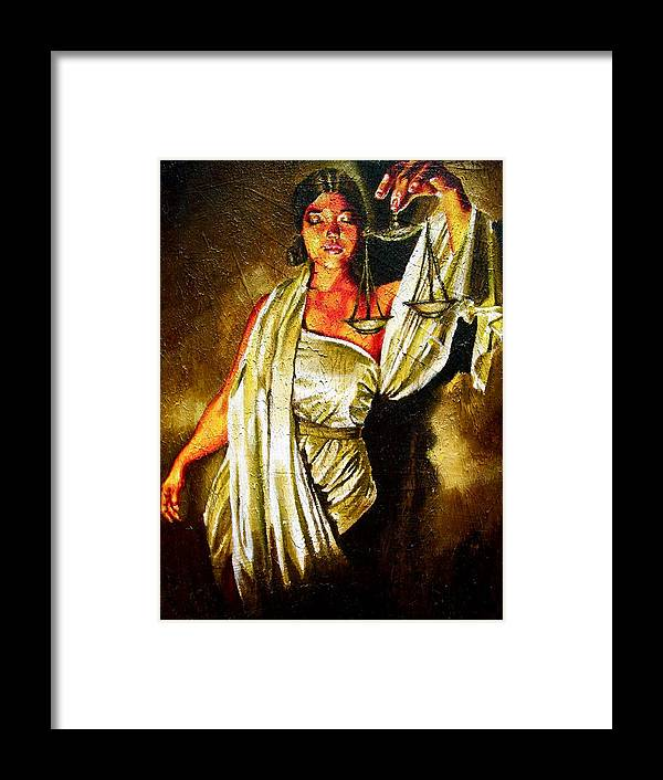 Law Art Framed Print featuring the painting Lady Justice Sepia by Laura Pierre-Louis