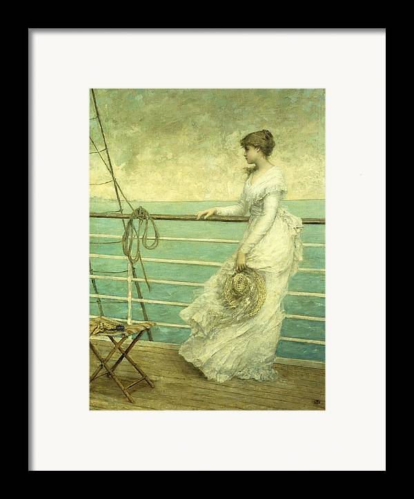 Lady; Deck; Ship; Sea; Seascape; Rigging; Ropes; Boat; Travel; Travelling; Journey; Transport; Young; Youth; Romantic; Pretty; Beauty; Beautiful; White; Lace; Dress; Demure; Lost In Thought; Pensive; Thoughtful; Hat; Stool; Seat; Victorian; On Deck Framed Print featuring the painting Lady On The Deck Of A Ship by French School