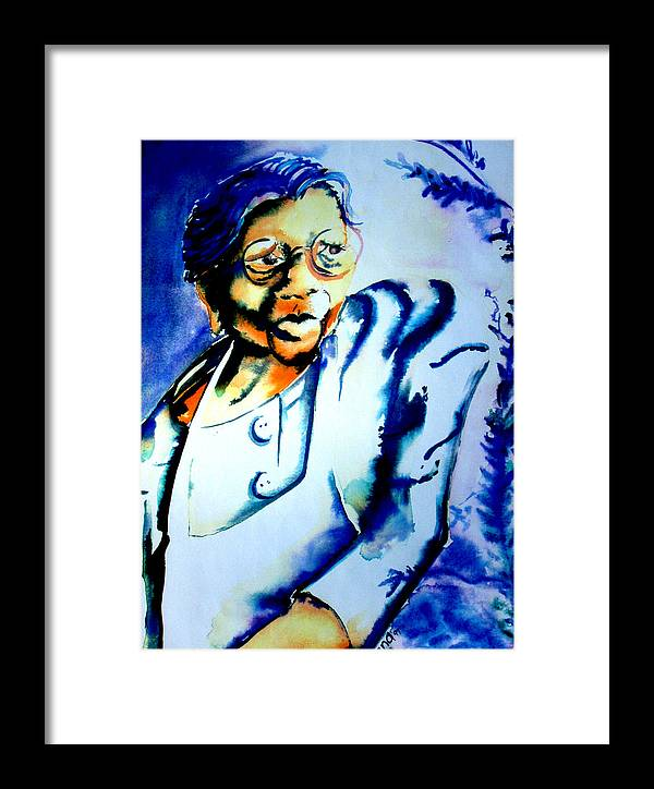 Woman Framed Print featuring the painting Lady With A Cane by Diana Davenport