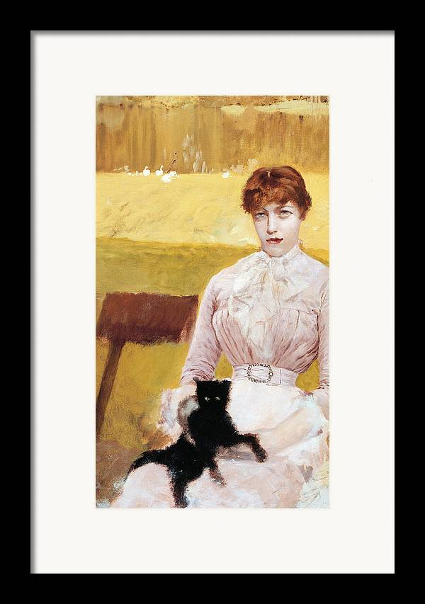 Cat Framed Print featuring the painting Lady With Black Kitten by Giuseppe De Nittis
