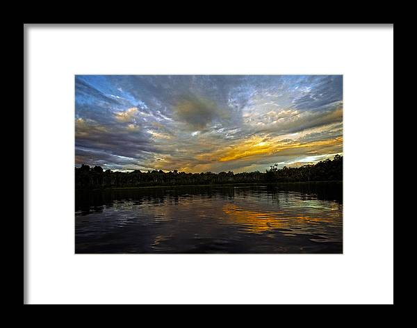 Sunset Framed Print featuring the photograph Lagoon Sunset In The Jungle by Kurt Van Wagner
