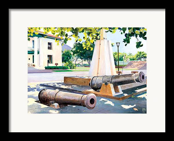 Lahaina Maui Cannons Framed Print featuring the painting Lahaina 1812 Cannons by Don Jusko