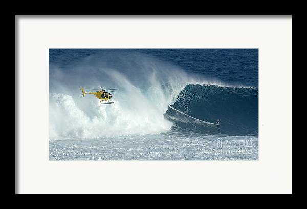 Laird Hamilton Framed Print featuring the photograph Laird Hamilton Going Left At Jaws by Bob Christopher