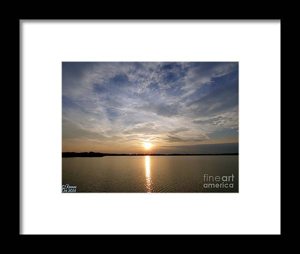 Water Framed Print featuring the photograph Lake Delta Sunset by Rennae Christman