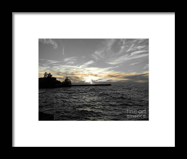Lake Erie Framed Print featuring the photograph Lake Erie Lights by Michael Krek