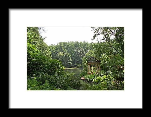 Lake Framed Print featuring the photograph Lake Gazebo by Barbara McDevitt