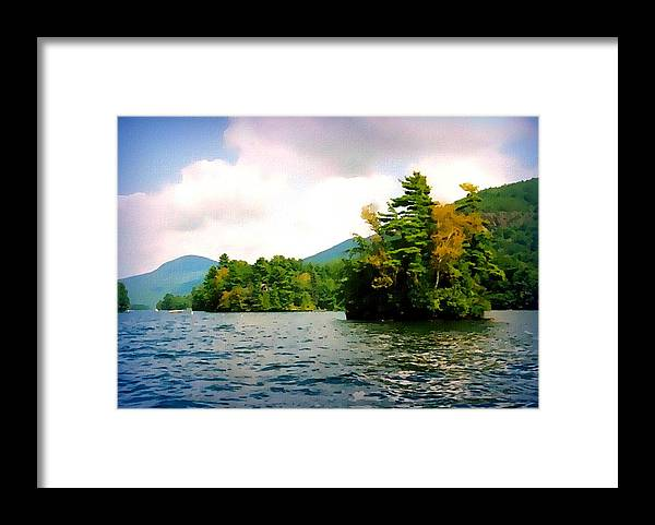 lake George Framed Print featuring the mixed media Lake George Islands In Summer by Linda Seifried