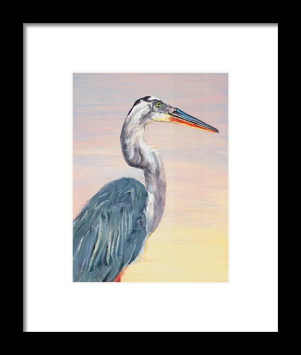 Water Fowl Framed Print featuring the painting Lake Heron Heron by Peter Bonk