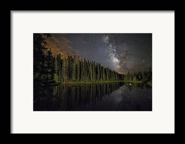 All Rights Reserved Framed Print featuring the photograph Lake Irene's Milky Way Mirror by Mike Berenson