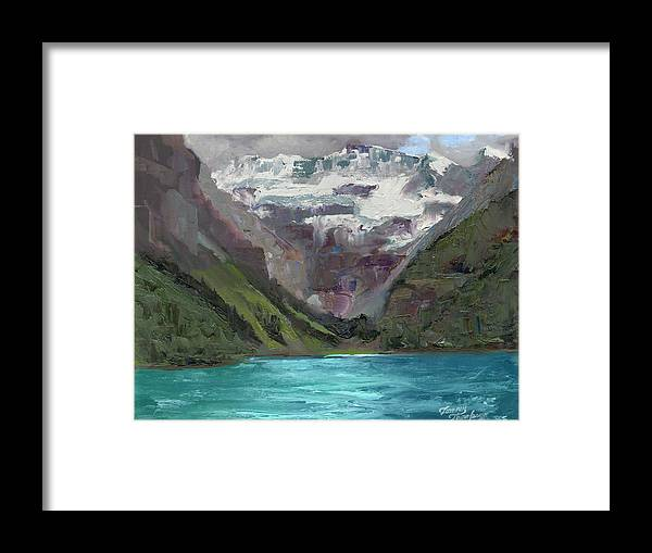 Landscape Framed Print featuring the painting Lake Louise Canada by Tommy Thompson