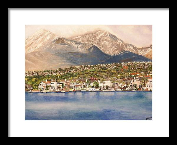Framed Print featuring the painting Lake Mission Viejo CA by Jim Reale