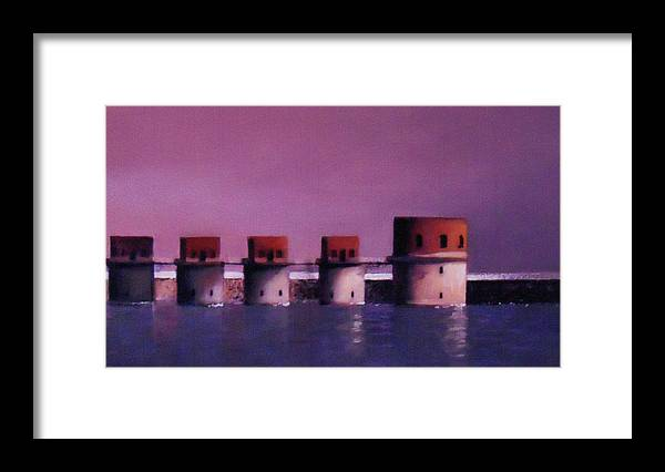 Lake Murray Framed Print featuring the painting Lake Murray Towers In Evening by Blue Sky