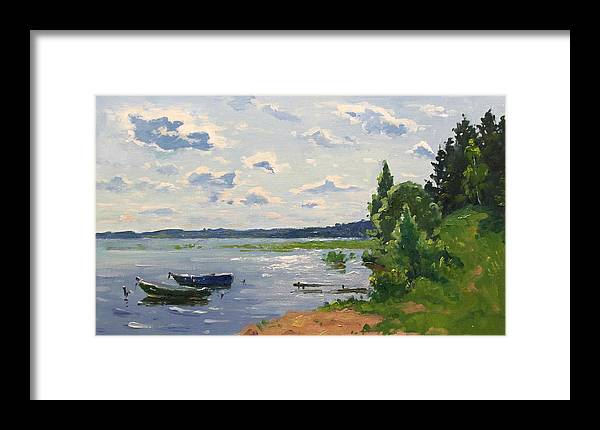 Framed Print featuring the painting Lake Naroch by Alexander Alexandrovsky