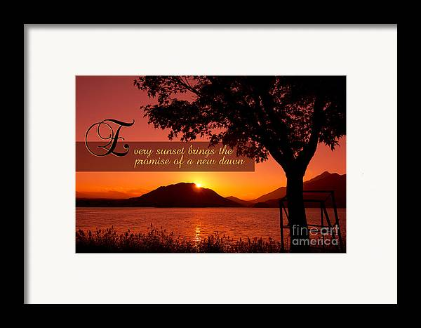 Every Sunset Brings The Promise Of A New Dawn Framed Print featuring the photograph Lake Sunset With Promise Of A New Dawn by Beverly Claire Kaiya