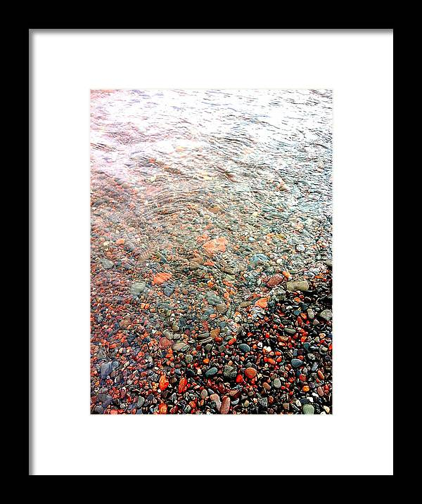 Lake Framed Print featuring the photograph Lake Superior Shore by Sheri Nelson