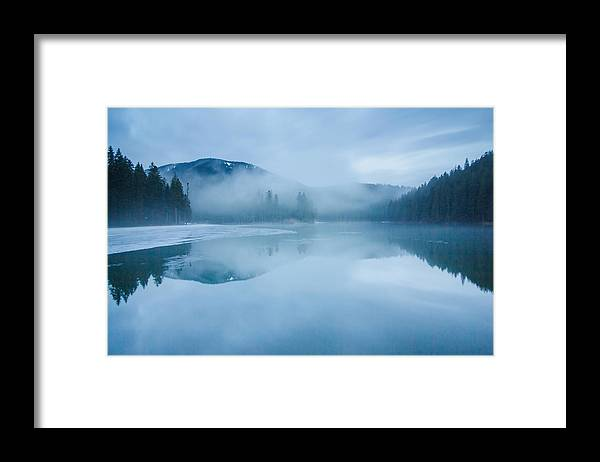 Scenics Framed Print featuring the photograph Lake Surrounded By Mountains And Forest by Verybigalex