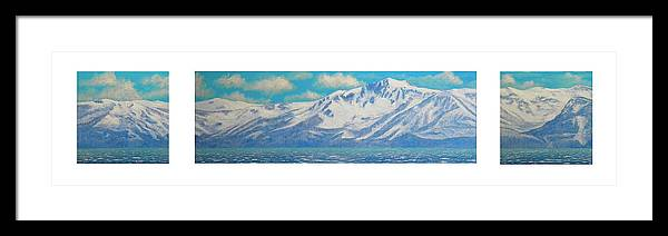 Lake Tahoe Framed Print featuring the painting Lake Tahoe After The Storm Triptych by Frank Wilson
