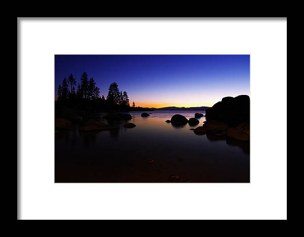 Dusk Framed Print featuring the photograph Lake Tahoe Sand Harbor Sunset Silhouette by Scott McGuire
