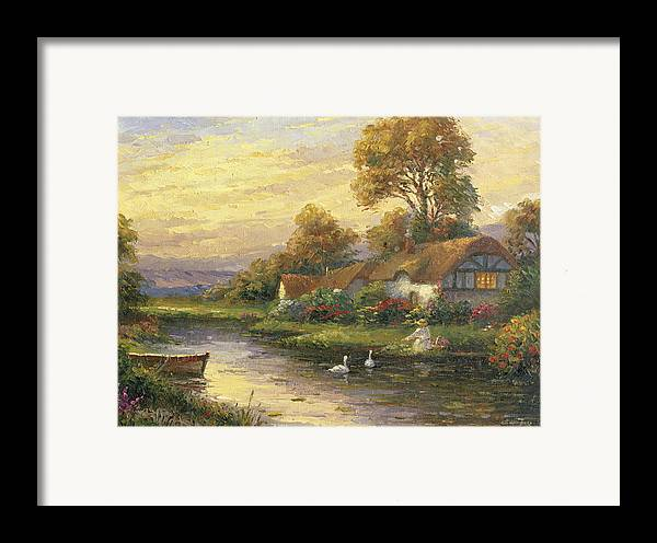 Woman Framed Print featuring the painting Lakeside Cottage by Ghambaro